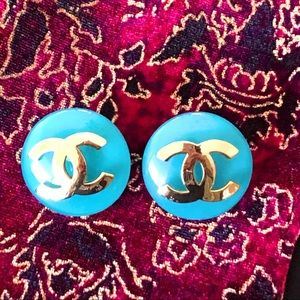 CHANEL blue plastic glass earrings with gold CC
